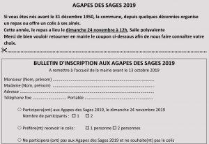 Inscription aux Agapes des Sages du 24 novembre @ Mairie